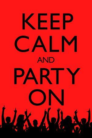 Keep Calm and Party On (Red) Plastic Sign