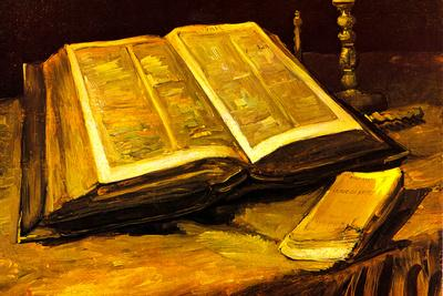 Vincent Van Gogh Still Life with Bible Plastic Sign