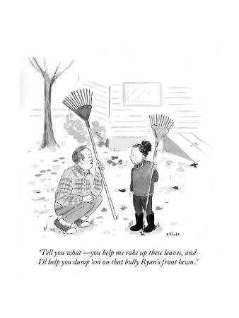 """Tell you what—you help me rake up these leaves, and I'll help you dump '…"" - Cartoon"