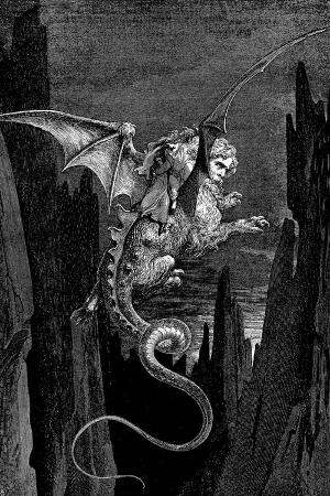Gustave Dore (Dante's Divine Comedy, Inferno - Flying Beast) Plastic Sign