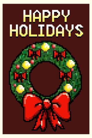 8 Bit Happy Holidays Wreath Plastic Sign