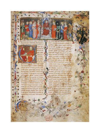 Petrarch on Throne Surrounded by Characters
