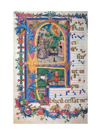 Choral response for religious services, illuminated manuscript, 14th c. Osservanza Basilica, Siena