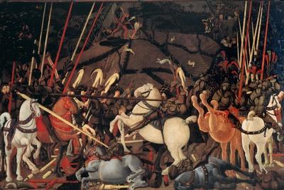 Rout of St. Roman (Battle of St Roman),by Paolo Uccello, c. 1436-1439 . Uffizi Gallery, Florence