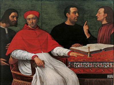Cesare Borgia & Niccolo Machiavelli talking to Cardinal Pedro Loys Borgia and his secretary,16th c.