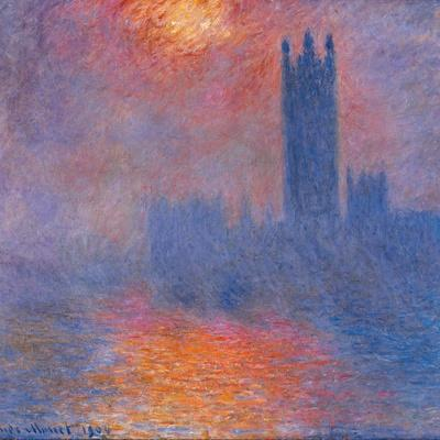 London Houses of Parliament. The Sun Shining Through the Fog