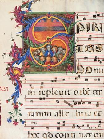Choral part of the Mass, illuminated manuscript, 15th c. Osservanza Basilica, Siena, Italy