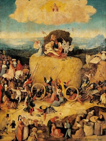 Tryptych of Hay, (Full view, central panel, open) by Hieronymus Bosch,c.1500-02, Prado. Detail.
