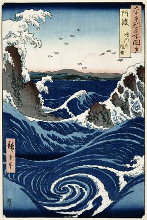Awa Province: Stormy Sea at the Naruto Rapids from 'Famous Places of the Sixty Provinces', 1853