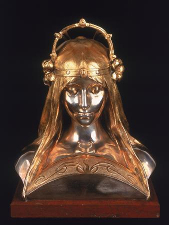 Head of a Girl, 1900 (Bronze, Silver and Parcel Gilt)