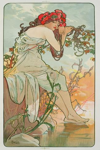 Alphonse Mucha  Seasons Summer Giclee Canvas Print