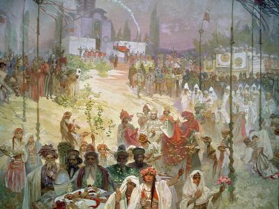 The Coronation of Tsar Stepan Dusan (1308-55) from the 'Slav Epic', 1926
