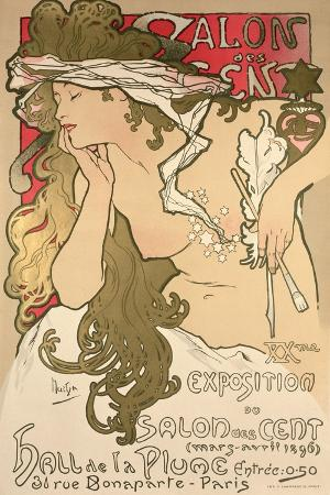 Poster Advertising the Salon Des Cent Exposition at the Hall De La Plume, 1896