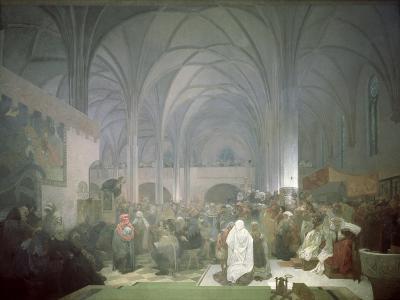 Master Jan Hus (1369-1415) Preaching in the Bethlehem Chapel, from the 'Slav Epic', 1916