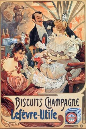 Poster Advertising 'Lefevre-Utile' Champagne Biscuits, 1896