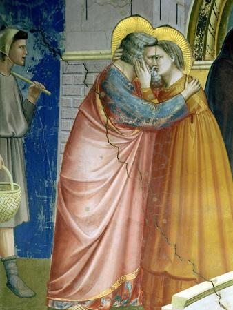 The Meeting at the Golden Gate, Detail of Joachim and St. Anne Embracing, c.1305