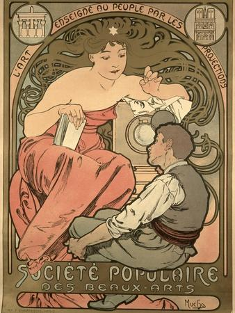 Poster Advertising the 'Societe Populaire Des Beaux-Arts, 1897