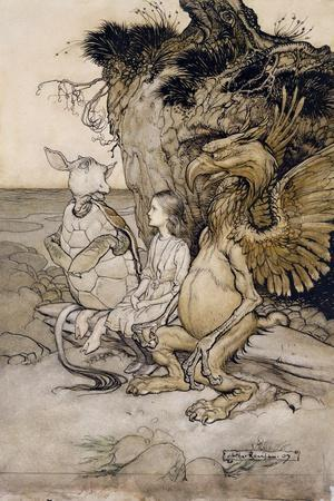 Alice and the Mock Turtle, Illustration from 'Alice's Adventures in Wonderland', 1907