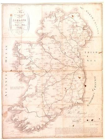 A Map of the Mail Coach Branching Cross and Bye Post Roads of Ireland, Engraved by S. Kerling