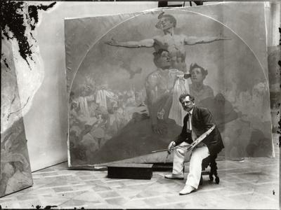 Self Portrait, Working on a Mural for the Lord Mayor's Hall, Obecni Dum, Prague, c.1910