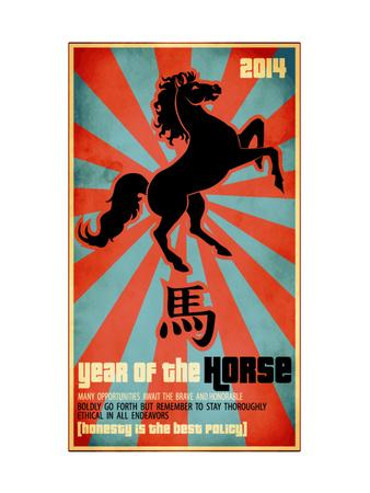 Year Of The Horse Poster - Chinese Zodiac Card With The Rearing Horse And Chinese Character Fo