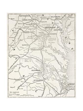 American Civil War Theater Old Map