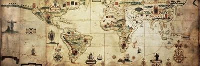 Antique World Planisphere Portolan Map Of Spanish And Portuguese Maritime And Colonial Empire