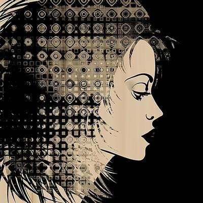 Art Sketched Beautiful Girl Face In Profile With Geometric Ornament Hair On Black Background