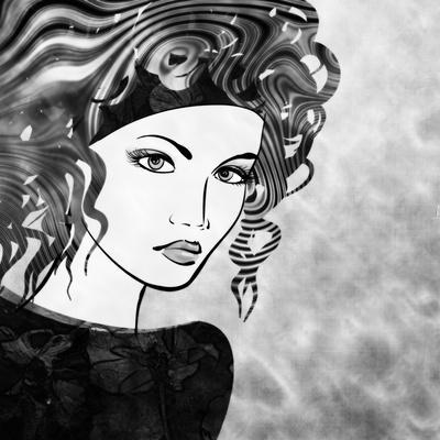 Art Sketched Beautiful Girl Face With Curly Hairs In Black Graphic On White Background