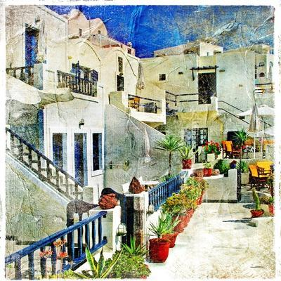 Pictorial Courtyards Of Santorini -Artwork In Painting Style