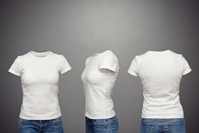Front, Back And Side Views Of Blank Feminine T-Shirt Over Dark Background