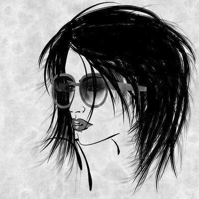 Art Sketched Beautiful Girl Face In Profile And Eyeglass In Black Graphic On White Background