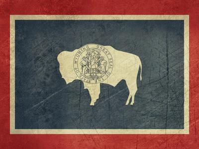 Grunge Wyoming State Flag Of America, Isolated On White Background