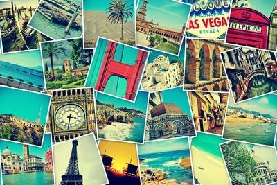 Mosaic With Pictures Of Different Places And Landmarks