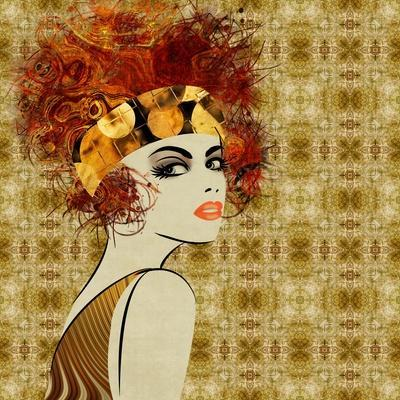 Art Colorful Sketching Beautiful Girl Face On Sepia Ornamental Background, In Art Deco Style