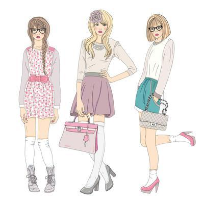 Young Fashion Girls Illustration. With Teen Females