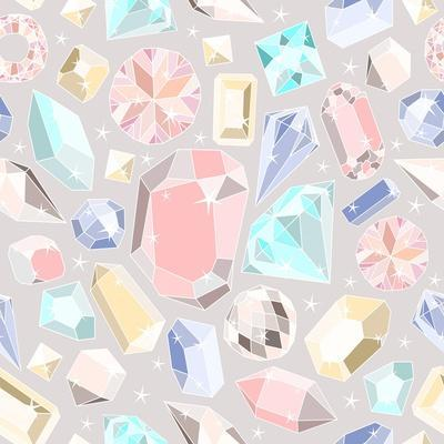 Seamless Pastel Diamonds Pattern. Background With Colorful Gemstones
