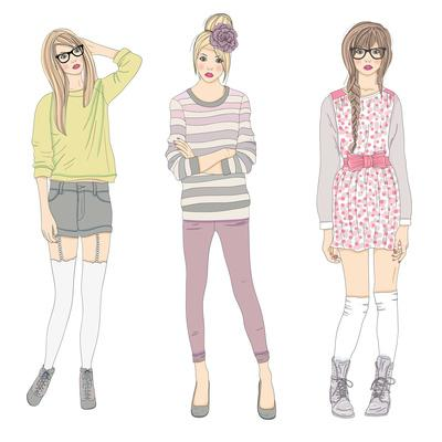 Young Fashion Girls Illustration. Teen Females