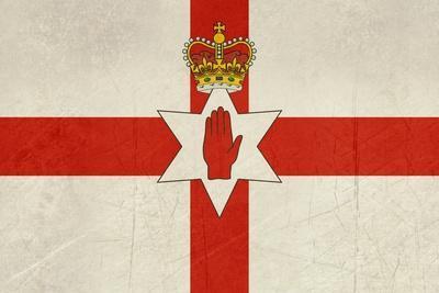 Grunge Ulster Flag Of Northern Ireland Illustration, Isolated On White Background