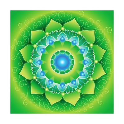 Circle, Bright Green Mandlala Of Anahata Chakra
