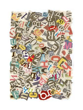 Colorful Background With Letters Torn From Newspapers And Magazines Rough Edges, Messy Look