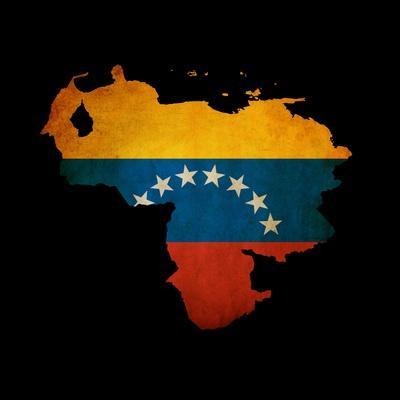 Outline Map Of Venezuela With Grunge Flag Insert Isolated On Black