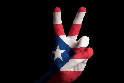 Puertorico National Flag Two Finger Up Gesture For Victory And Winner Symbol Made With Hand