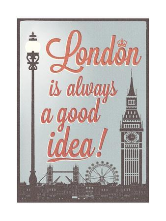 Typographical Retro Style Poster With London Symbols And Landmarks