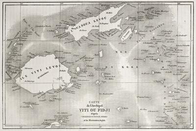 Old Map Of Fiji Islands