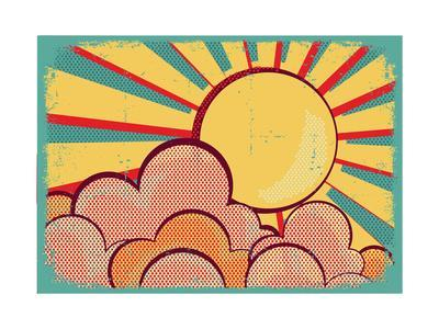 Sun And Blue Sky With Beautifull Clouds.Retro Image On Vintage Texture