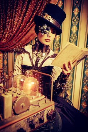 Portrait Of A Beautiful Steampunk Woman Over Vintage Background