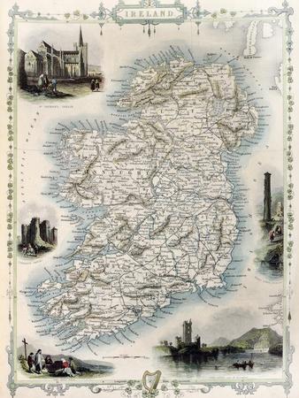 Ireland Old Map. Created By John Tallis, Published On Illustrated Atlas, London 1851