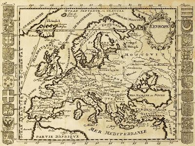 Map Of Europe Framed By National Crests. May Be Dated To The Beginning Of Xviii Sec
