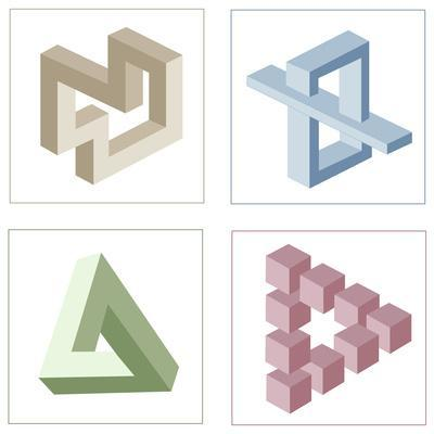 Different Multicolored Optical Illusions Of Unreal Geometrical Objects